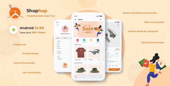 Free eCommerce App UI Templates Kotlin | Shophop Android UI | Iqonic Design