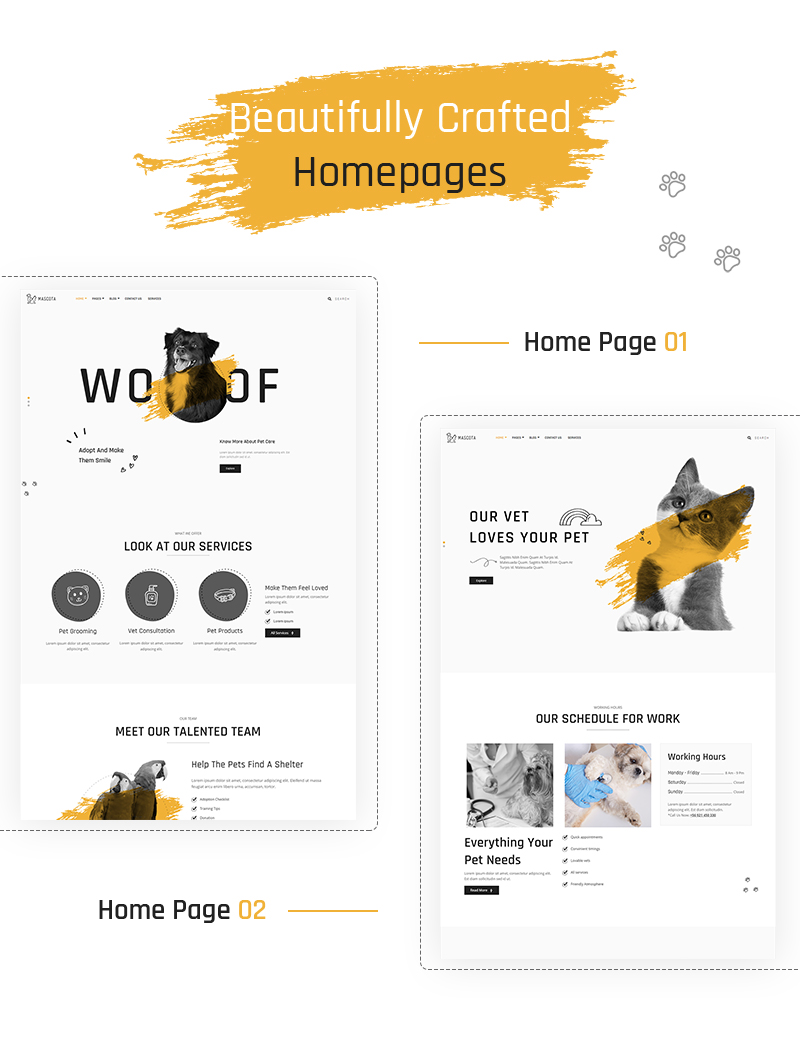 Free Pet Care WordPress Theme | Mascota | Iqonic Design free wordpress theme for petcare Mascota WordPress 02 home pages