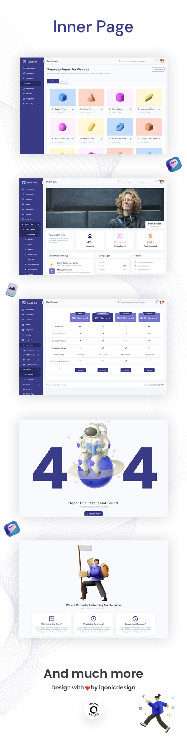Free HTML Website Template for Email Marketing | EmailChimp Lite | Iqonic Design free email marketing webapp admin template EmailChimp Lite 03 inner pages scaled