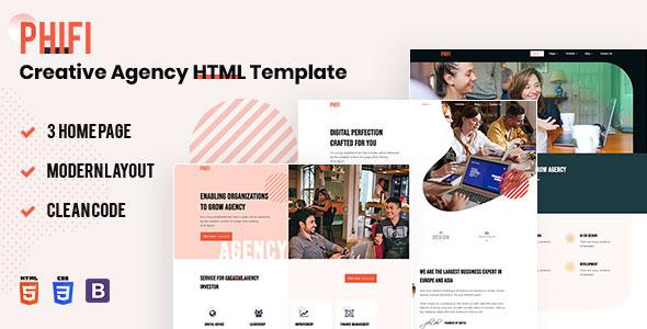 Creative Agency HTML Template Free | Phifi | Iqonic Design