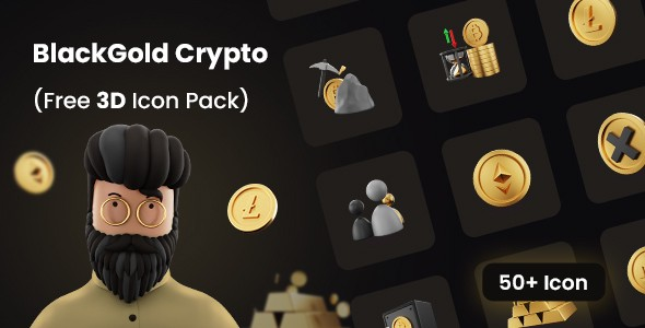 FREE 3D icon pack for Cryptocurrency | BlackGold | Iqonic Design