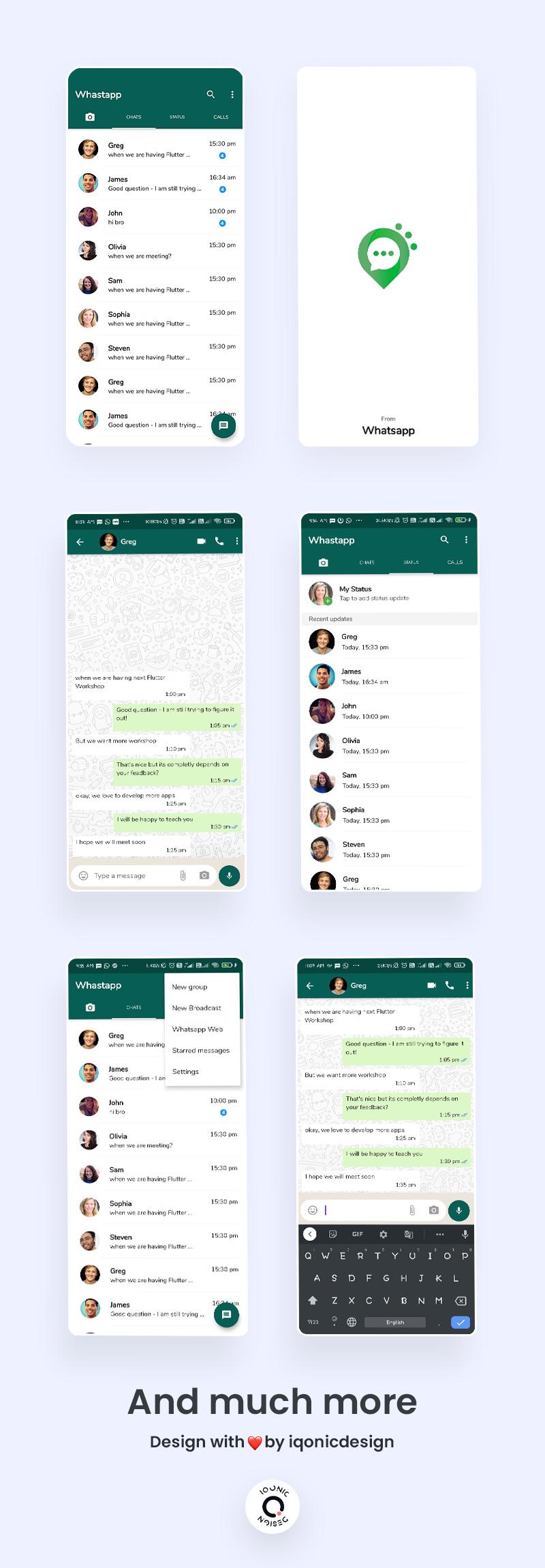 free whatsapp ui clone flutter Whatschat preview 1