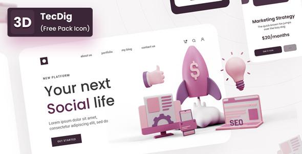 Free 3D Icon pack for Digital Marketing | TecDig | Iqonic Design