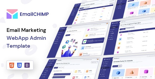 Free Email Marketing WebApp Admin template | EmailChimp Lite  13+ Best Free Bootstrap Admin Templates 2021 00 emailchimp preview min