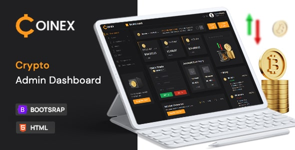 Free Crypto Admin Dashboard | Coinex Lite | Iqonic Design  13+ Best Free Bootstrap Admin Templates 2021 01 final small preview min 1