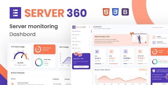 Free Server Monitoring Admin Dashboard | Server360 Lite | Iqonic Design  13+ Best Free Bootstrap Admin Templates 2021 01 small preview min 1