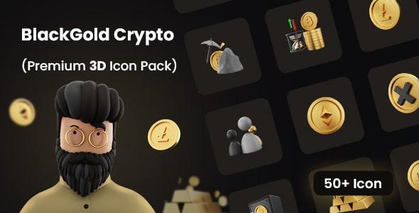 Premium 3D Icon Pack for Cryptocurrency | BlockGold Pro | Iqonic Design