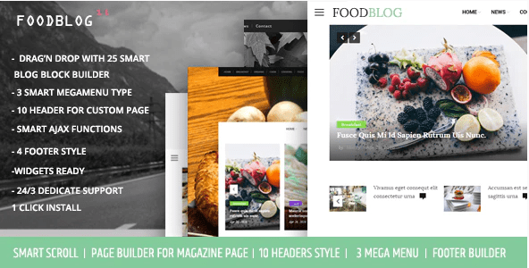 FoodBlog  10+ Best Grocery and Food Store WordPress Themes For Farm Producers & Traders Screenshot 1 min
