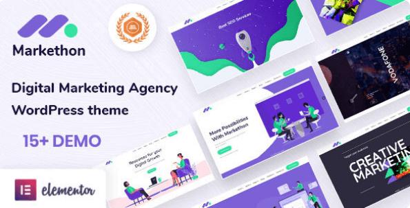 SEO and Digital Marketing Agency WordPress Theme   Markethon   Iqonic Design  10 Modern Startup Business WordPress Themes For Digital Entrepreneurs Screenshot 2