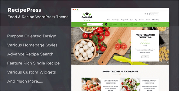 RecipePress  10+ Best Grocery and Food Store WordPress Themes For Farm Producers & Traders Screenshot 3 min