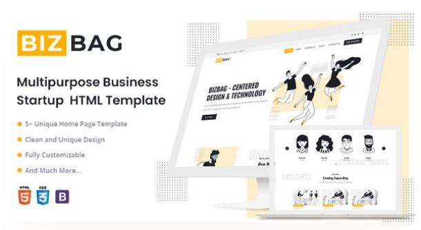 Free Startup Business HTML5 Template   BizBag   Iqonic Design   15+ Best Free Responsive Website Templates For Better Mobile User Experience Screenshot 3