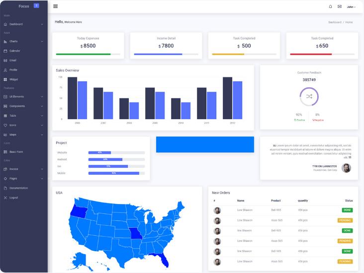 Focus  13+ Best Free Bootstrap Admin Templates 2021 Screenshot 4 min 2
