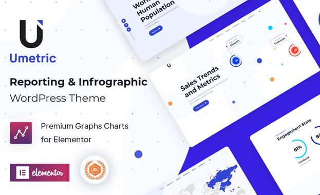 WordPress Dashboard Reporting and Infographic Theme | Umetric | Iqonic Design  5 Best Reporting and Infographic WordPress Themes to Create Beautiful Presentation Sites image
