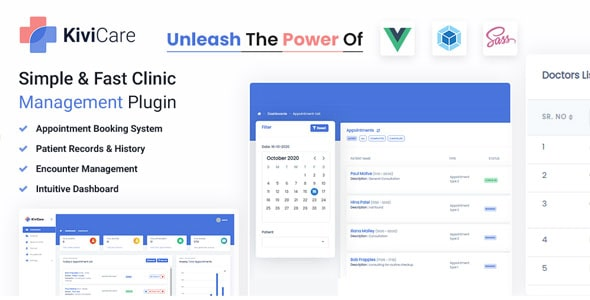 Free Clinic and Patient Management Plugin   KiviCare   Iqonic Design  18+ Best Free Elementor Addons for WordPress Compared kivicare1