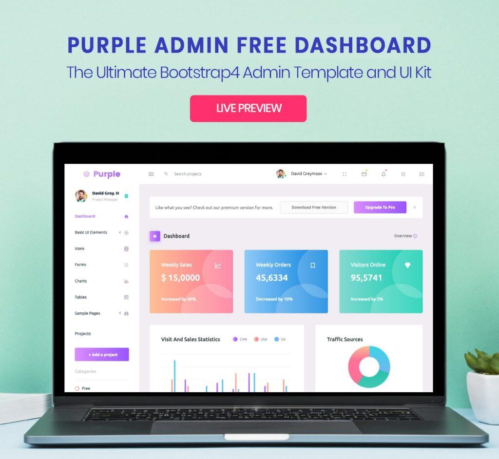 purple  13+ Best Free Bootstrap Admin Templates 2021 screenshot min 1024x942
