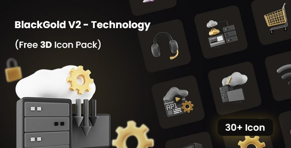 Best Free 3D Icon Pack for Technology | BlackGold V2 | Iqonic Design