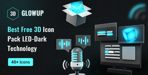 Best Free 3D Icon LED-Dark Technology Pack | GlowUp | Iqonic Design