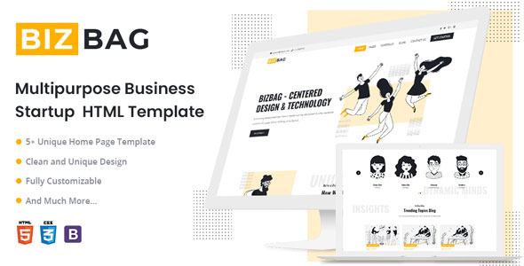 Free Startup Business HTML5 Template | BizBag | Iqonic Design  4 Best Free Website Templates for Startup Business BizBag1 1