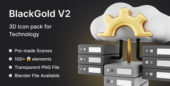 Premium 3D Icon Pack for Technology | Black Gold Vol2 Pro | Iqonic Design