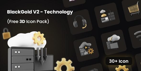 Best Free 3D Icon Pack for Technology   BlackGold V2   Iqonic Design  9 Top 3D UI Elements Libraries for Designers BlackGold V21