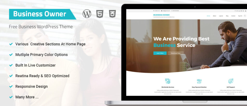 Business Owner  Top 11 Best Free WordPress Themes for Marketing Agency 2021 Busienss Owner1 1024x438