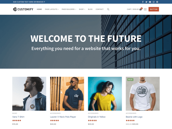 Customify  7 Best Free Elementor WordPress Themes for Online Business Customify1