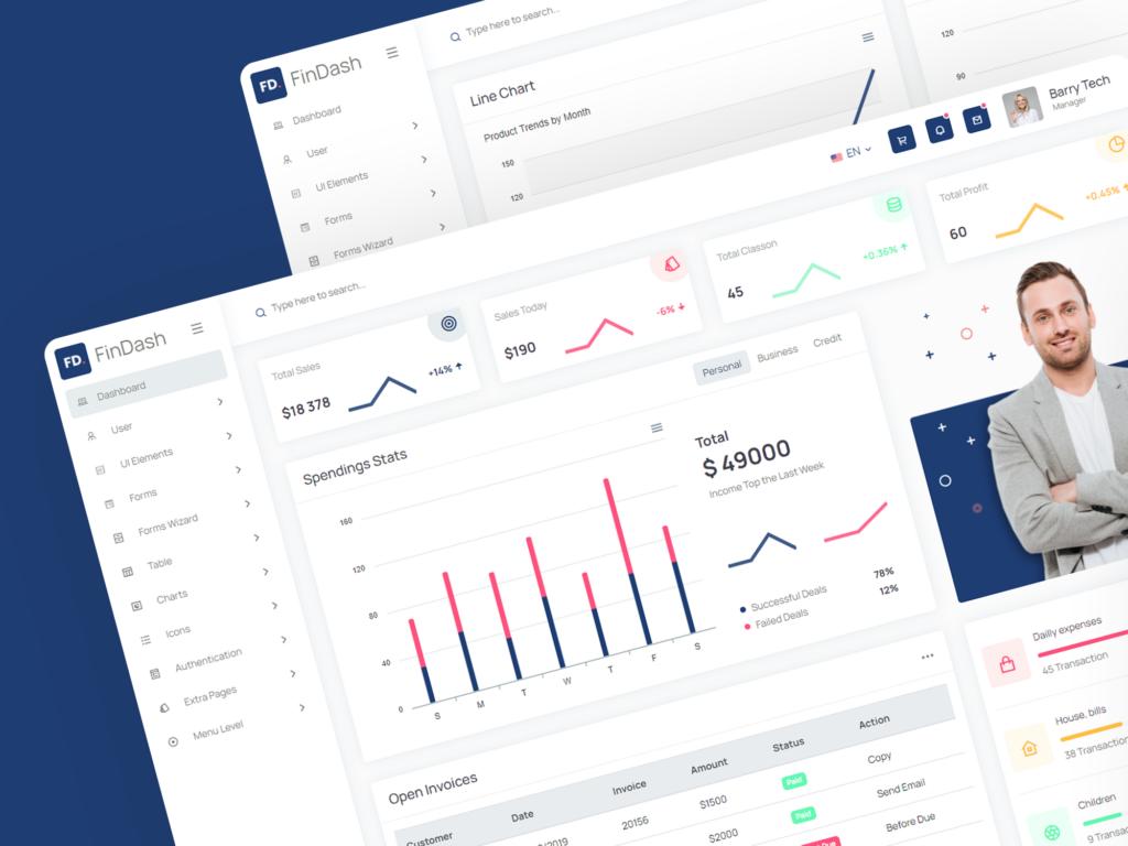 Free HTML Finance Sales Dashboard   FinDash Lite   Iqonic Design  Top 10 Free HTML5 Admin Dashboard Templates 2021 Dribbble Post 01 1024x768