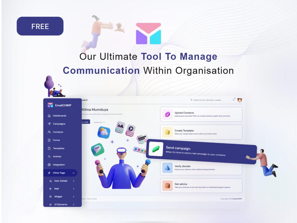 Free Email Marketing WebApp Admin Template   EmailChimp Lite   Iqonic Design  Top 10 Free HTML5 Admin Dashboard Templates 2021 Dribble POST 1024x768