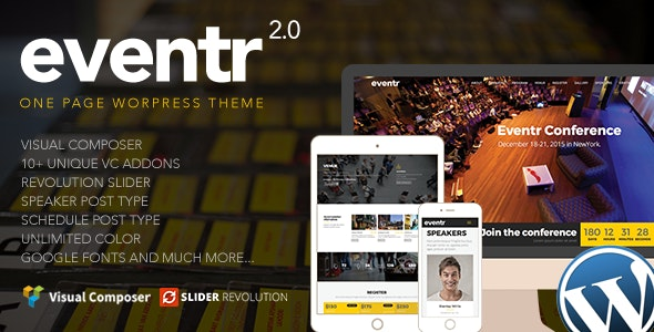 Eventr  8 Modern and Flexible Event Conference WordPress Themes For Digital Entrepreneurs Eventr1