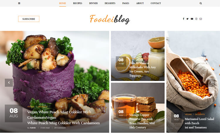 FoodieBlog  10 Industry-Niche Best Free HTML5 Website Templates in 2021 Foodieblog1