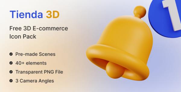 Best Free 3D Icon Pack for E-commerce Stores | Tienda | Iqonic Design
