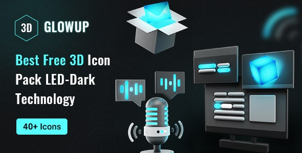 Best Free 3D Icon LED-Dark Technology Pack   GlowUp   Iqonic Design  9 Top 3D UI Elements Libraries for Designers GlowUp1