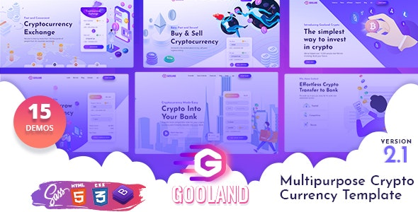 Gooland  Top 5 Cryptocurrency ICO HTML Templates To Start Trading Crypto Business Now! Gooland1