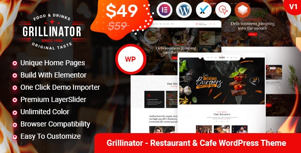Grillinator  15 Best WordPress Themes for Cafe to Create A Responsive Restaurant & Cafe Website in 2021 Grillinator1