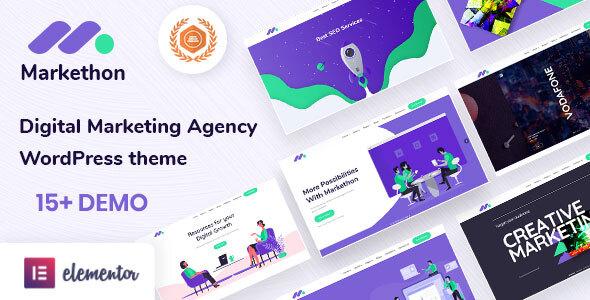 SEO and Digital Marketing Agency Portfolio WordPress Theme | Markethon | Iqonic Design  15 Best Multipurpose WordPress Themes To Save You Big For Future Projects Markethon1