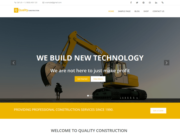 Top 11 Best Free WordPress Themes for Marketing Agency 2021 Quality Construction1