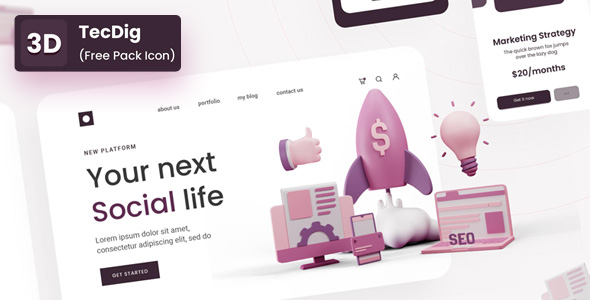 Free 3D Icon pack for Digital Marketing   TecDig   Iqonic Design  9 Top 3D UI Elements Libraries for Designers TecDig 3D1