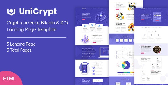 UniCrypt  Top 5 Cryptocurrency ICO HTML Templates To Start Trading Crypto Business Now! UniCrypt1