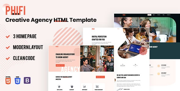 Creative Agency HTML Template Free   Phifi   Iqonic Design  10 Industry-Niche Best Free HTML5 Website Templates in 2021 phifi1