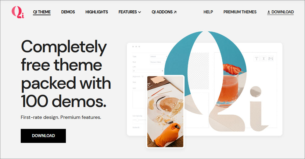 QI Theme  12 Best Free WordPress Themes of 2021 (Chosen by Experts) 01 Qi Theme