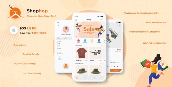 Free eCommerce App UI Template Swift 4   Shophop iOS UI   Iqonic Design  8+ Best Flutter UI Kits Free (UI Kits and Templates) Shophop1
