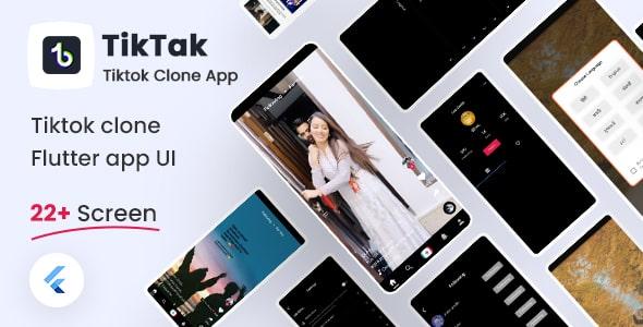 Free TikTok Clone Flutter UI Kit   TikTak   Iqonic Design  8+ Best Flutter UI Kits Free (UI Kits and Templates) TikTak1